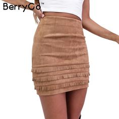BerryGo Winter tassel suede pencil skirts womens Vintage high waist mini short skirt Autumn sexy bodycon female leather skirts