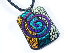 Dichroic glass pendant jewelry. necklace. etched. by HarrachGlass, $30.00