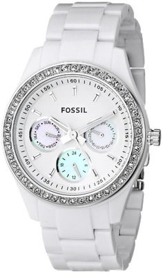 Fossil Stella White Dial Women's Quartz Watch - - This classic Fossil women's white watch features a plastic white tone case, a white dial with silver markers and three blue mother-of-pearl sub dials. Stylish Watches, Cool Watches, Watches For Men, White Watches, Michael Kors, Robes Vintage, Fossil Watches, Women's Watches, Beautiful Watches