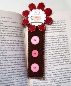 A button,flower and felt bookmark.