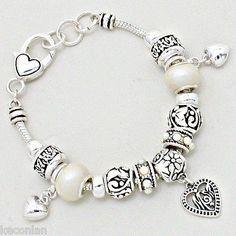 Brighton Bay Jewelry Silver Tone White Decorative Beads Heart Charms Bracelet