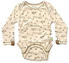 Posheez Snap'n Grow Organic Cotton Adjustable Baby Bodysuit - Animal Party Print - Long Sleeve. Any Size, Any Shape ... Perfect Fit! Posheez Fit!