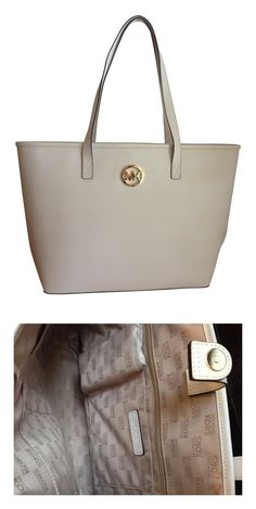 dcef26f879c3ce $129.99 - Michael Kors Optic White Jet Set Travel Medium Saffiano Leather  Tote #michaelkors Michael
