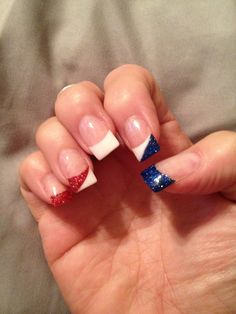Red white and blue nails. Perfect for 4th of July!