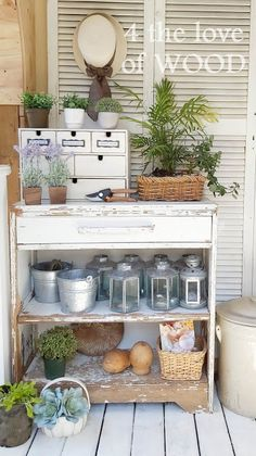 SPRING POTTING BENCH AND PLANTERS Free Lumber, Diy Planters, Planter Boxes, Annie Sloan Graphite, Seed Storage, Porch Makeover, Iron Work, Small Space Living