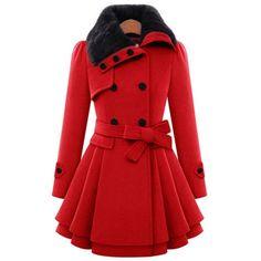 ANDI ROSE Women Woolen Thick Warm Winter Long Coat Hood Overcoat... (3220 RSD) ❤ liked on Polyvore featuring outerwear, coats, red overcoat, long coat, long red coat, over coat and hooded overcoat