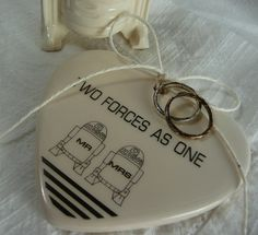 Porcelain Heart Ring Holder - Two Forces As One - R2D2 MR & MRS Couple - ready to ship. $22.00, via Etsy.