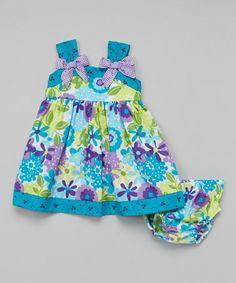 Look at this #zulilyfind! Turquoise & Green Floral Babydoll Dress - Infant, Toddler & Girls #zulilyfinds