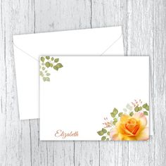 Yellow Rose Personalized Note Cards Small Letters, Personalized Note Cards, Yellow Roses, White Envelopes, Card Stock, Birthday Gifts, Great Gifts, Birthdays, Notes