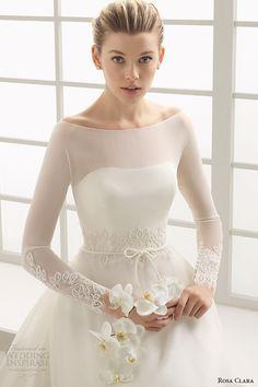 rosa clara 2016 bridal collection bateau neckline illusion long sleeves a line wedding dress deba front zoom