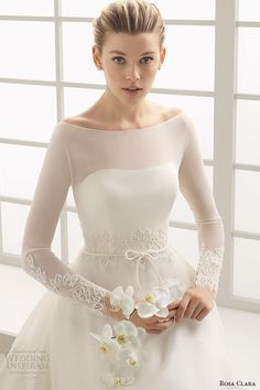 rosa clara 2016 bridal collection  bateau neckline illusion long sleeves a line wedding dress deba front zoom