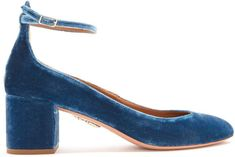 Lou Lou 115 embellished velvet block-heel pumps Aquazzura Cheap Eastbay 2018 Online Discount Footaction Fs0LdXzix
