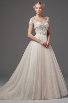 Romantic wedding dress idea - ball gown with lace, beaded bodice with off-the-shoulder neckline and tulle skirt. Style Shayne bodice with Kallin skirt from Sottero & Midgley by @maggiesottero.