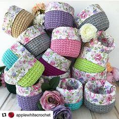 Best 12 Crochet baskets with fabric binding on top edge. Crochet Bowl, Crochet Basket Pattern, Cute Crochet, Crochet Patterns, Crochet Baskets, Crochet Organizer, Crochet Storage, Yarn Projects, Crochet Projects