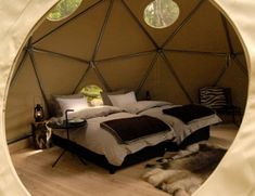 A shot of the inside this dome with hoop door at the retreat in
