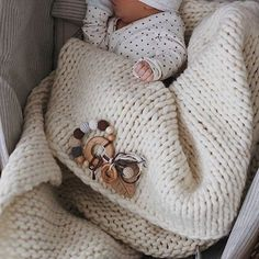 вязаный детский плед из толстой пряжи Keep Calm This Wool