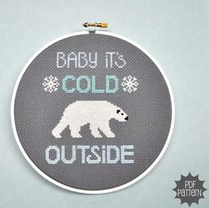 Baby it's cold outside, Polar Bear Counted Cross Stitch Pattern Download, sent by email. $4.00, via Etsy.