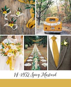 Spicy Mustard Yellow Autumn Wedding Inspiration Board