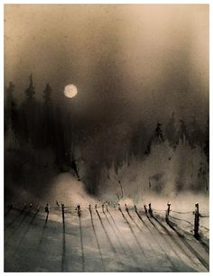 """Andreas W Gortan   ...hi everybody....have a great time whatever you do....hope you enjoy this little moonlight-scenery....  """"moon over cydonia""""  watercolor 30x25 / 12x10 27.11.2015 / 7*"""