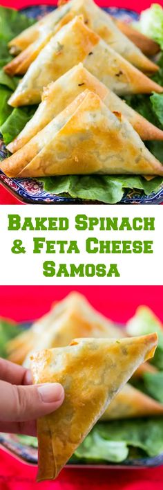 Baked Spinach and Cheese Samosa Side Recipes, Greek Recipes, Veggie Recipes, Cooking Recipes, Healthy Appetizers, Appetizers For Party, Healthy Meals, Tea Snacks, Yummy Snacks