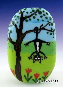 """SWING INTO SPRING"" ByKAYO a Handmade OOAK CAT Lampwork Art Glass Focal Bead SRA"
