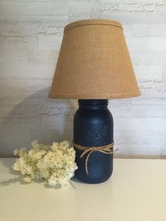 half gallon or quart size distressed mason jar lamp in color shown navy blue