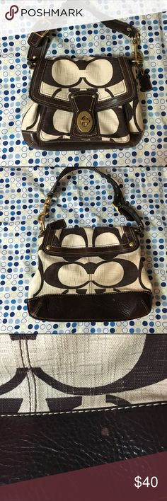 Coach Purse This over the shoulder purse is in good condition. Only one small flaw on the bottom of the bag as pictured above. Coach Bags Shoulder Bags