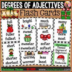 Christmas Degrees of Adjectives Flashcards - Positive Comparative Superlative Christmas Jokes, Christmas Themes, Classroom Bulletin Boards, Classroom Decor, Joke Book, Drama Teacher, Frames, Projects To Try, Positivity