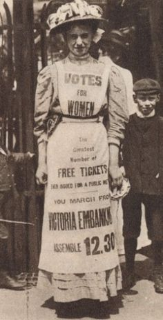Suffragettes love this idea of printing words onto the clothing