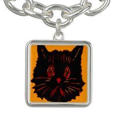 Sad Unhappy Frown Glum Gloomy Down Black Cat Bracelet