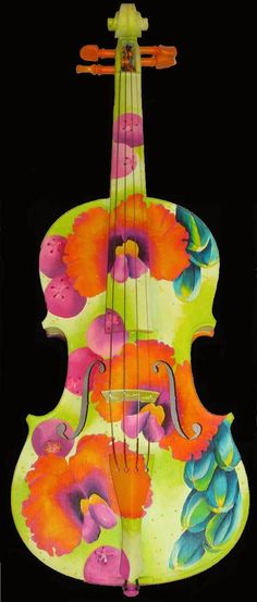 Painted Violin by Elizabeth Elequin - Painted Violin Painting - Painted Violin Fine Art Prints and Posters for Sale Violin Painting, Violin Art, Painted Pianos, Painted Guitars, Violin Instrument, Cool Violins, Musical Instruments, Fine Art Prints, Art Projects