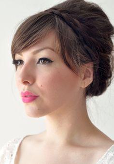 White, Black and Gold Wedding Make up. bridal makeup, bright pink but romantic
