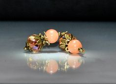2 Vintage Style Peach Gemstone and Crystal Bead Dangles or Earrings - 10mm Glass Rondelle Beads by goldcountrydangles on Etsy