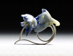 CARRIE GARROTT - Delphinium ring - delphinium blooms, beeswax & sterling silver