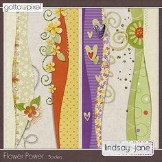 Flower Power Borders :: Retiring Soon :: Gotta Pixel Digital Scrapbook Store