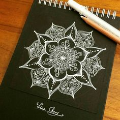 White on Black Paper Zentangle Mandala Mandala Tattoo Design, Mandala Art, Mandala Drawing, Mandala Doodle, Zen Doodle, Doodle Art, Desenho Tattoo, Zentangle Patterns, Zentangles