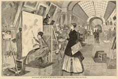 after Winslow Homer, Art-Students and Copyists in the Louvre Gallery, Paris, , published 1868, wood engraving, Print Purchase Fund (Rosenwald Collection)