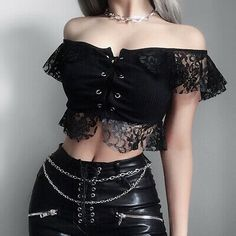 Gothic Outfits, Edgy Outfits, Mode Outfits, Grunge Outfits, Girl Outfits, Fashion Outfits, Fashionable Outfits, Sexy Bluse, Gothic Mode