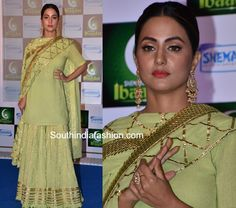 Hina Khan In Sukriti And Aakriti Sharara Suit! Gharara Designs, Kurti Designs Party Wear, Dress Indian Style, Indian Dresses, Indian Wear, Sharara Suit, Salwar Kameez, Salwar Suits, Indian Wedding Outfits