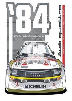 'Audi Quattro Sport - Poster by Evan DeCiren Audi Sport, Sport Cars, Race Cars, Auto Retro, Bmw Classic Cars, Car Illustration, Illustrations, Car Posters, Audi Cars