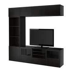 BESTÅ TV storage combination/glass doors - Hanviken/Sindvik black-brown clear glass, drawer runner, soft-closing - IKEA