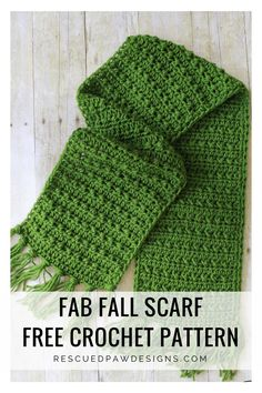 Fringe Scarf Crochet Pattern for Fall - Easy Crochet Fabulously Fall Fringe Scarf – Free Crochet Pattern - Rescued Paw Designs Crochet Simple, Easy Crochet Patterns, Crochet Designs, Crocheted Scarves Free Patterns, Crocheted Hats, Knitting Patterns, Crochet Fringe, Crochet Hooks, Scarf Crochet