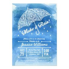 Shop Make it Rain Watercolor Shower Invitation Blue created by pj_design. Jessica Williams, Baby Shower Invitation Cards, Make It Rain, Custom Invitations, Gender Reveal, Rsvp, Watercolor, How To Make, Blue