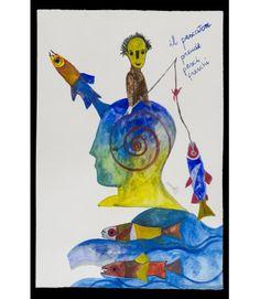 Pescatore - Livin'Art di Fabrizio Barsotti Acquarello su carta cm 56x38