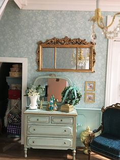 My Miniature Madness: New Orleans Dollhouse Dollhouse Decor, Teal Bedroom, Teal Walls, Living Room Paint, Dolls House Interiors, Teal Wall Colors, Home Decor, Messy Bed, Barbie Furniture
