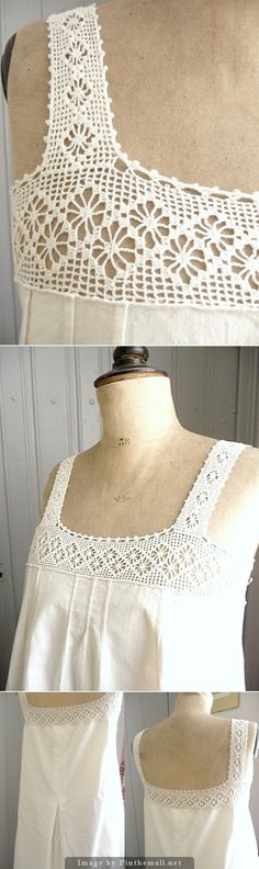 1900's chemise: spider lace crochet yoke