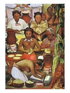 Rivera: Grinding Corn by Diego Rivera. Giclee print from Art.com.