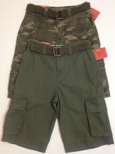 Mossimo Cargo Shorts 26 Youth Lot of 2 Camouflage Olive Green Belted NEW #Mossimo #Everyday
