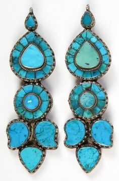 Old Tibetan Turquoise And Silver Woman's Earrings