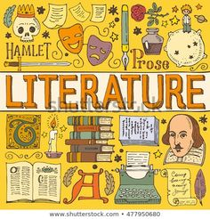 Literature hand drawn colorful vector poster with doodle icons, images and objects, isolated on background. Diy Notebook, Notebook Covers, Doddle Art, Cute Desktop Wallpaper, Yearbook Covers, School Murals, Language And Literature, Doodle Icon, Kawaii Doodles